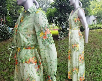 70s Maxi Dress, Vintage Jacket, Lesile Fay, Vintage Costume, Vintage Sundress, 70s Jacket, Floral Dress, Summer Dress, Dress Size 10