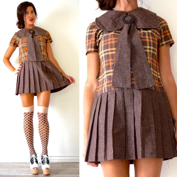 Vintage 60s 70s Brown Plaid Pleated Dropped Waist Mini Dress with Rounded Dog Ear Sailor Collar (size medium)