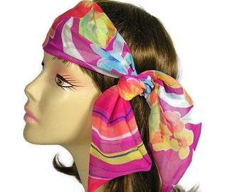 Chiffon Head Scarves Chiffon Head Wraps Hair Scarves Summer Hair Scarves Neck Scarves Floral Head Scarves Womens Scarves