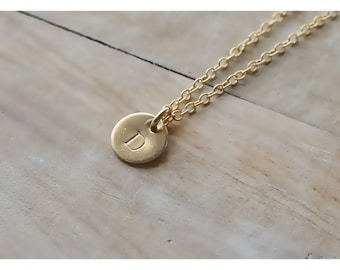 personalized gold disc necklace • gold initial necklace • initial gold disc • 1, 2 , 3, 4, 5 discs • 14K gold initial necklace • B088