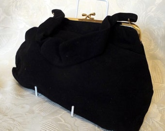 Jane Shilton, England, black velvet soft suede feel evening bag
