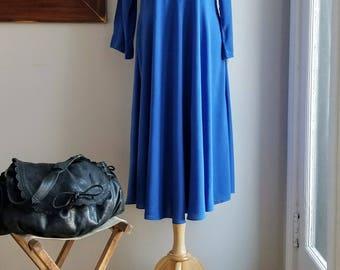 """Blue TShirt Circle Dress/90's TShirt Dress/Primary Blue Dress/Swing Dance/A Line Dress/Tent Dress/Mandarin Collar/47""""Long/36""""Chest/38""""Waist"""