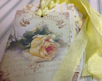 Set of 6 Bird and Bloom Gift Tags - Yellow and Green Handmade Greeing Tags - Cards