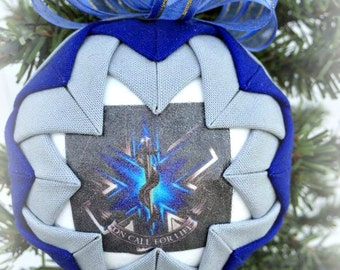 HANDMADE Quilted Ornament /Blue and Silver fabric/great gift idea/EMS/EMT Handmade Quilted Ornaments (Ready to Ship)