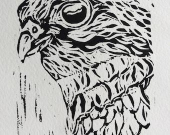 "Original, Unframed, Hand Pulled, Linocut Print - Merlin Bird - 6""x4"" on A5 Paper - lino ink paper"