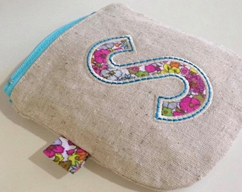 Design your own,Personalised, embroidered & appliqued initial coin purse, small zipper pouch, make-up or cosmetic bag