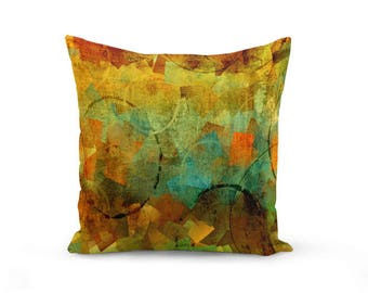 Abstract Throw Pillow Cover in Teal Brown Orange Green Black Modern Home Decor Living room bedroom accessories Cushion Euro Sham Cover