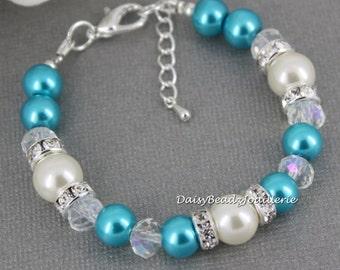 Turquoise and Ivory Bracelet Bridesmaid Bracelet Maid of Honor Bracelet Junior Bridesmaid Bracelet Turquoise Wedding