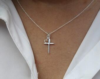Cross necklace /Love Heart Cross Silver pendant necklace / 925 Sterling Silver Cross Necklace / silver cross