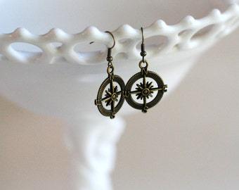 Compass charm earrings, travel dangle earrings, travel jewelry