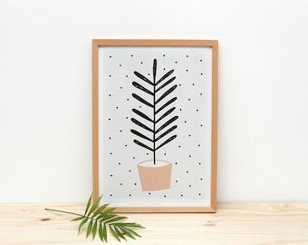Peach Plant - print - 8 x 11.5 - A4 - by Depeapa