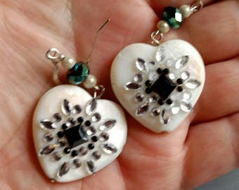 Mother of pearl, crystal and sterling silver heart shaped black and white drop earrings. Ooak. Secret Santa.