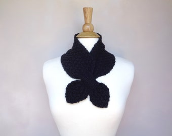 Black Ascot Scarf, Neck Warmer, Hand Knit, Elegant Refined Chic Office Style, Merino Wool Cashmere, Keyhole Scarf