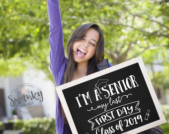 First Day of Senior Year Sign, Printable First Day Sign, Back To School Sign, First Day of 12th Grade, Senior Year, Instant Download, 2019