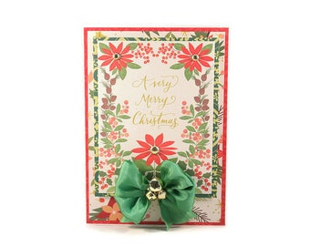 Christmas Card, A Very Merry Christmas, Poinsettia Card, Elegant Card, Luxury Card, Handmade Christmas Card, Floral Card, Christmas Gift