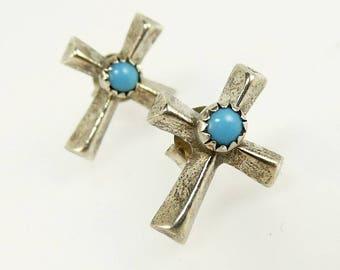 Navajo Turquoise Cross Earrings Sterling Silver Studs Southwestern Jewelry