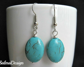 Turquoise Earrings. Beaded Earrings. Handmade Oval Turquoise Earrings with silver ear wires. Necklace available.
