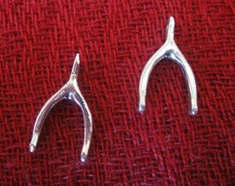 925 sterling silver oxidized wishbone charm 1 pc.
