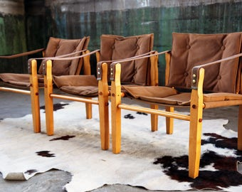 PAIR Stylish Mid Century Teak + Leather Suede Safari Chairs Gold