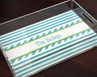 Personalized Lucite Tray, Monogrammed Tray, Serving Tray, Nautical Tray - Waves