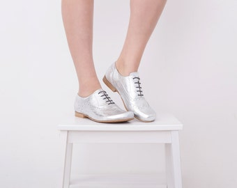 Silver Shoes, Womens Oxford Shoes , Handmade Wide Leather Flats Leather brogue , free shipping NEW ADIKILAV