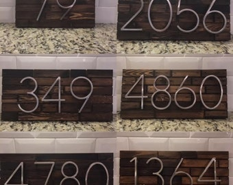 Address Plaque made from Wood and Modern Numbers- custom house numbers, address sign, cabin, cottage, housewarming and anniversary gift