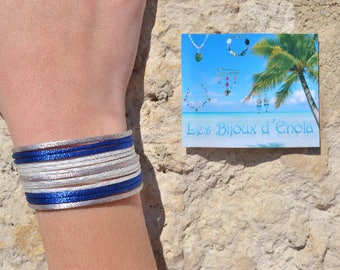 Blue, grey and white Cuff Bracelet