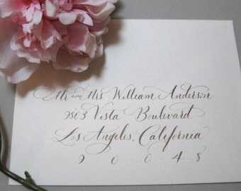 Calligraphy addressing by hand for wedding invitations and envelopes