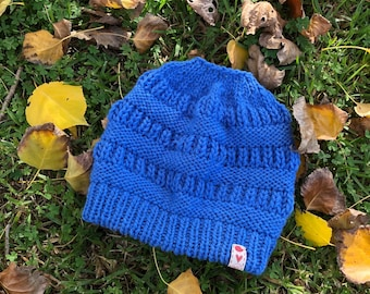 Cornflower blue top knot/bun beanie