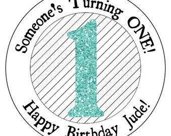 1st teal birthday stickers, custom glitter first birthday stickers, blue birthday labels, turquoise and black stripe birthday stickers
