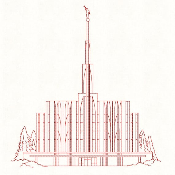 Seattle Washington Lds Temple Redwork Embroidery Design