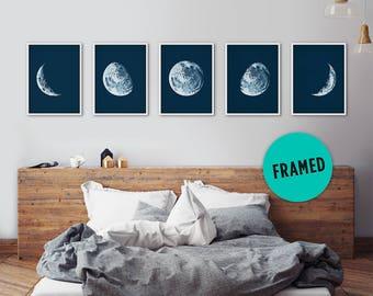 Mondphasen, gerahmte Kunst Satz, Moon Poster, Mond Phasen Drucke, Mond Phasen Wandkunst, Mond-Drucke, Moon Poster, Astronomie Drucke, Wand-Dekor