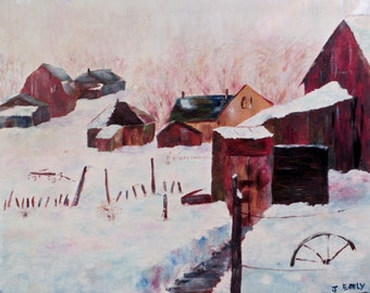 Farm Snow - oil painting