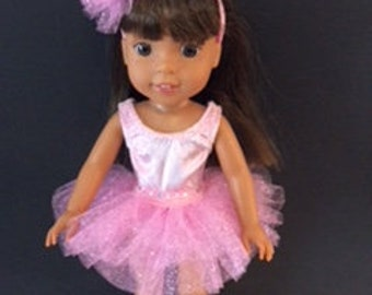 Pink three piece ballet outfit for Wellie Wisher dolls.