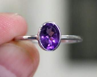 925 Solid Sterling Silver - Natural Amethyst Gemstone - Handmade Silver Ring - All Size 3-15