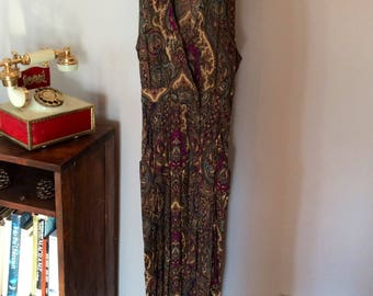 "Vintage Psychedelic Hippie/ Paisley Long Dress ""jumper"" WITH POCKETS! (Small)"