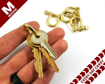 Brass Every Day Carry Key Shackle Brass Shackle EDC Gear Brass Key Ring Keychain Attachment Men's Gift Key Chain Brass Shackle Key Holder