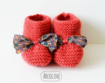 Baby 3 months booties wool coral Liberty