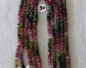 Tourmaline, 5 mm, Faceted Rondelle, Multicolor Strand, Natural Stone, Semi Precious, Translucent Bead, Full Strand, AdrianasBeads