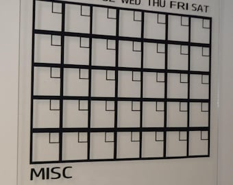 "SALE** - Dry Erase Monthly Calendar EXTRA Large Size - Acrylic Calendar - 36"" x 30"" by InfiniteWares"