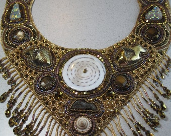 "Bead Embroidery Bib Necklace ""Treasure of the Sea"" OOAK Druzy Gemstone Carved Fish & Shells"
