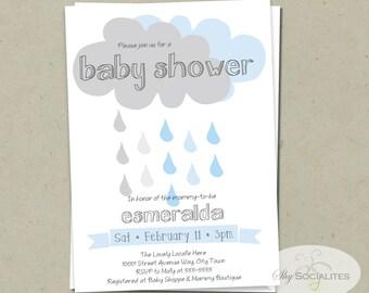 Rainclouds Baby Shower Invitation | INSTANT DOWNLOAD | Rain, Cloud, Blue, Boy Baby Shower, Its a boy, Modern, Simple, Rain Shower
