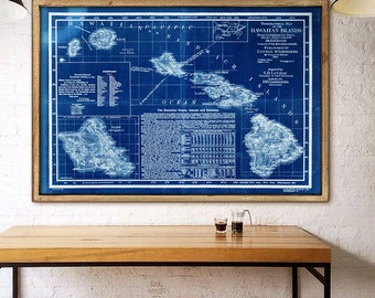 "Hawaii map 1893 Large old map of Hawaiian islands in 4 sizes up to 54x36"" (140x90cm) also in blue color - Limited Edition of 100"