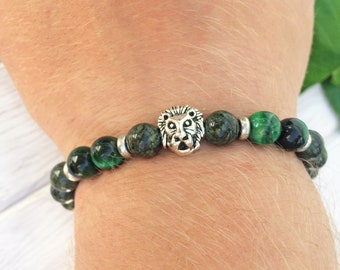 Lion bracelet, Men bracelet, Men jewelry, Men beaded bracelet, Tiger eye bracelet, Green bracelet, Green tiger eye, Serpentine bracelet Gift