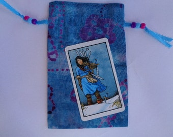 Blue and Purple Batik Cotton Tarot, Rune  or Crystal Keeper Bag
