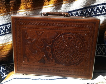 1970s Tooled Mexican Leather Briefcase Chacmool Mayan
