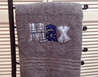Applique Name Towel Personalized Bath Towel Boys or Girls