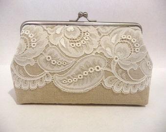 Handmade Leaf Lace Clutch, Rustic Bridal Clutch, Bridesmaid Linen Lace Purse, Bridesmaid Clutch, Elegant Vintage Style Purse