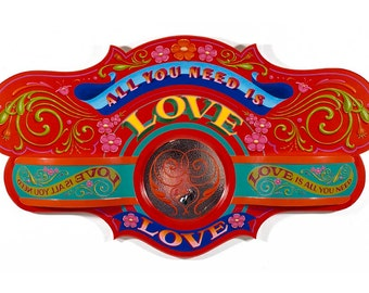 All You Need is Love - Poster - Sign painting, fileteado, flowers