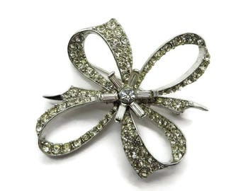Rhinestone Bow Brooch - Vintage Estate Silver Tone Costume Jewelry Gift Brooch
